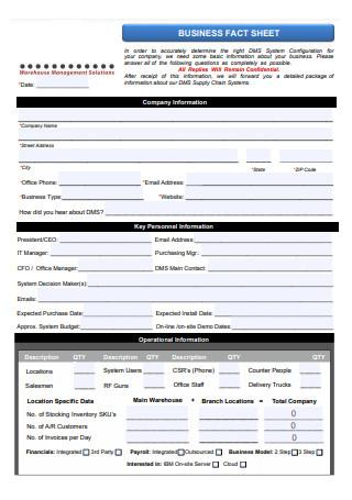 Formal Business Fact Sheet