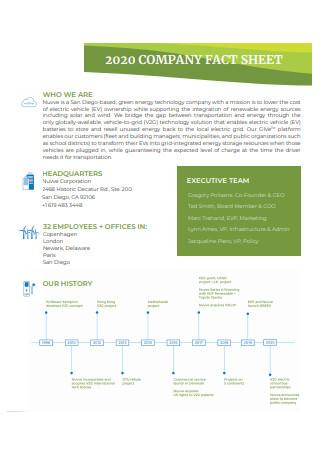 Formal Company Fact Sheet