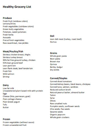 Formal Healthy Grocery List