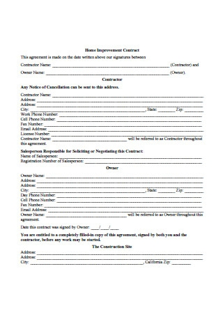 Formal Home Improvement Contract