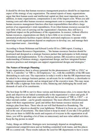 Formal Human Resources Strategic Planning