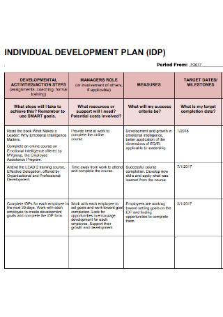 Formal Individual Development Plan