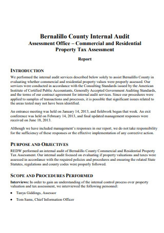 Formal Internal Audit Report