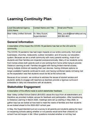 Formal Learning Continuity Plan