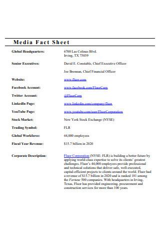 Formal Media Fact Sheet