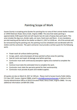 Formal Painting Scope of Work