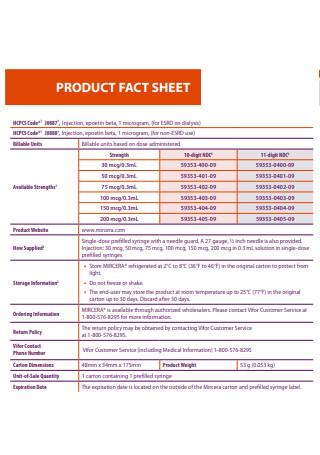 Formal Product Fact Sheet