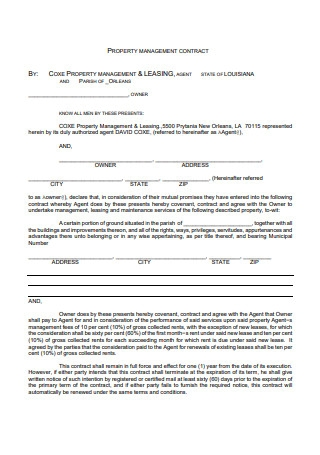 Formal Property Management Contract