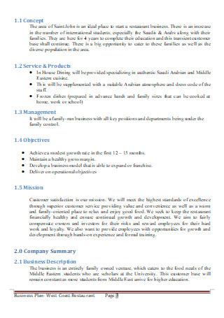 Formal Restaurant Business Plan