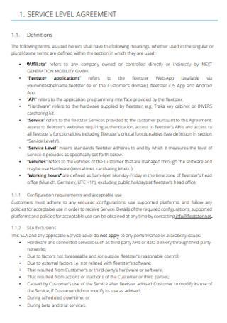Formal Service Level Agreement