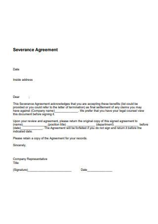 Formal Severance Agreement