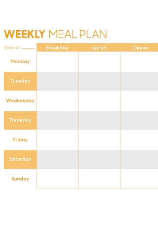 Formal Weekly Meal Plan