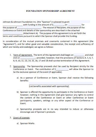Foundation Sponsorship Agreement