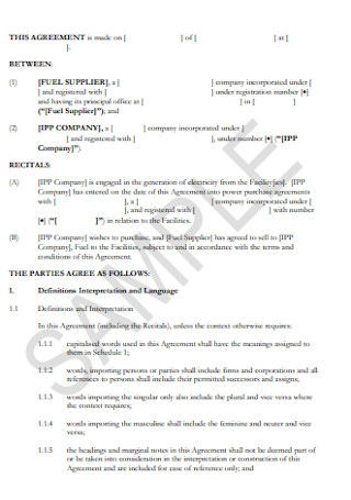 Fuel Supply Agreement