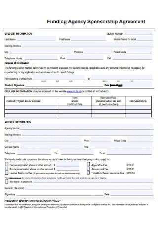 Funding Agency Sponsorship Agreement