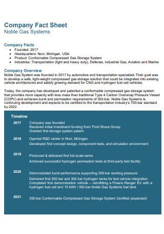 Gas Company Fact Sheet