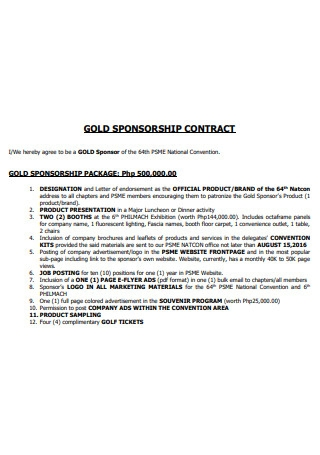 Gold Sponsorship Contract
