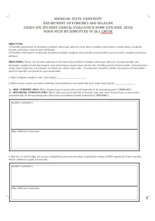 Graduate Student Annual Evaluation Form