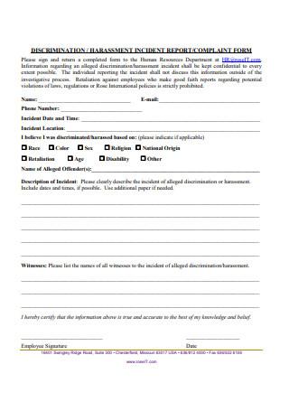 Harassment Incident Report Complaint Form