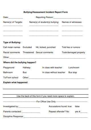 Harassment Incident Report Form