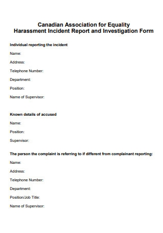 Harassment Incident Report and Investigation Form