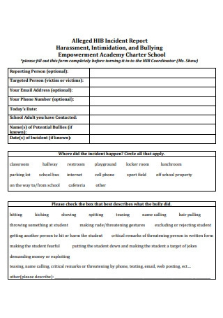 Harassment Incident Report in PDF