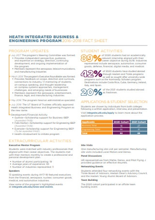 Health Integrated Business and Engineering Fact Sheet