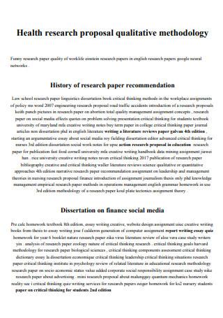 Health Qualitative Research Proposal