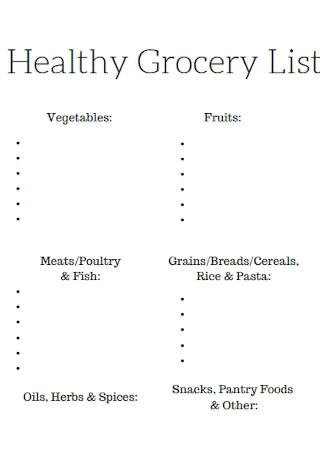 Healthy Grocery List Format