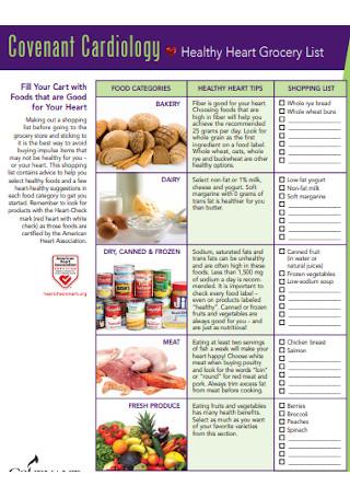 Healthy Heart Grocery List