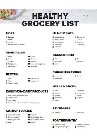 Healthy Vegitables Grocery List