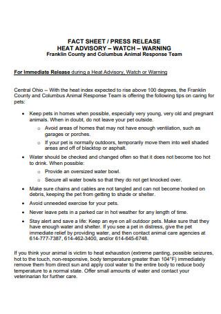 Heat Advisory Press Release Fact Sheet