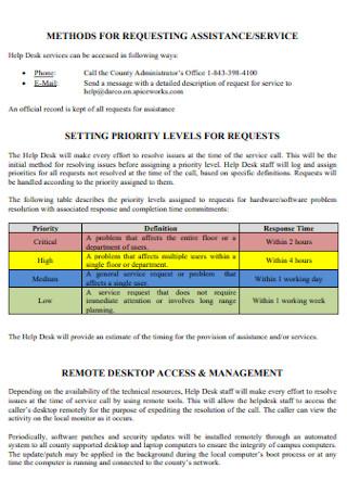 Help Desk Service Level Agreement