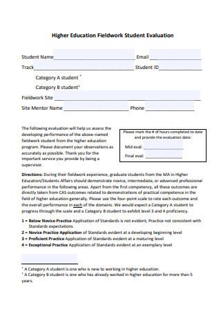 Higher Education Fieldwork Student Evaluation