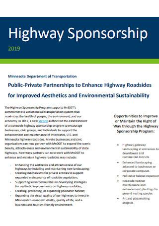Highway Sponsorship Fact Sheet