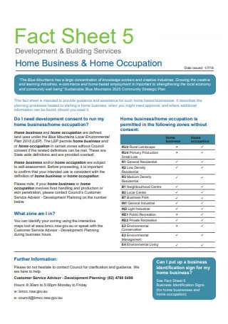 Home Business and Home Occupation Fact Sheet