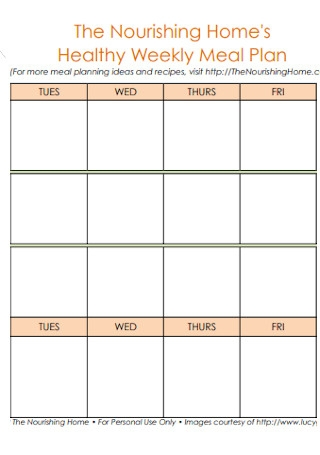 Home Healthy Weekly Meal Plan