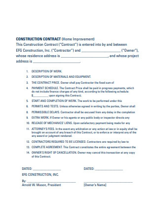 Home Improvement Construction Contract