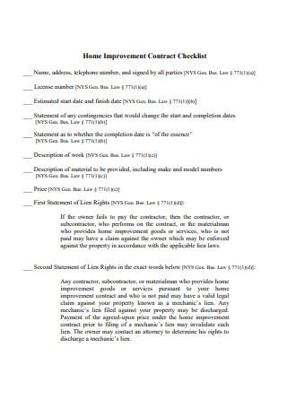 Home Improvement Contract Checklist
