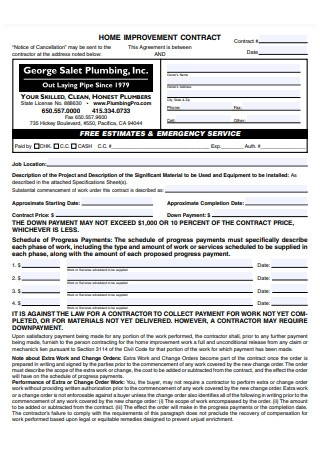Home Improvement Contract Example