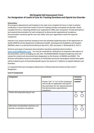Hospital Self Assessment Form