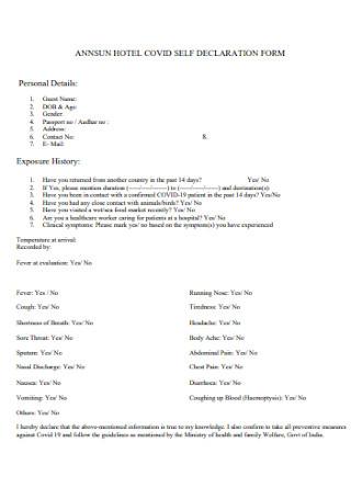 Hotel Covid Self Declaration Form
