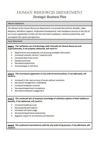 Human Resources Department Strategic Business Plan