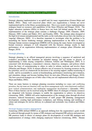 Human Resources and Procurement Strategic Plan