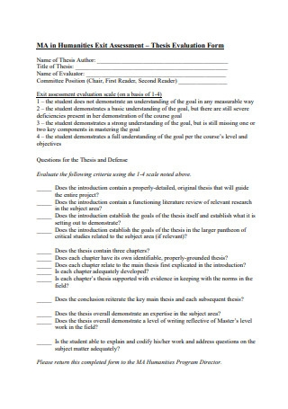Humanities Exit Assessment Thesis Evaluation