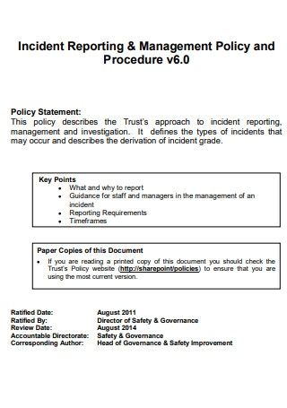 Incident Reporting Policy and Procedure