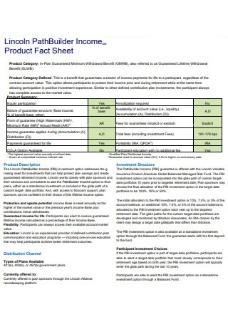 Income Product Fact Sheet