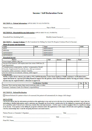 Income and Self Declaration Form