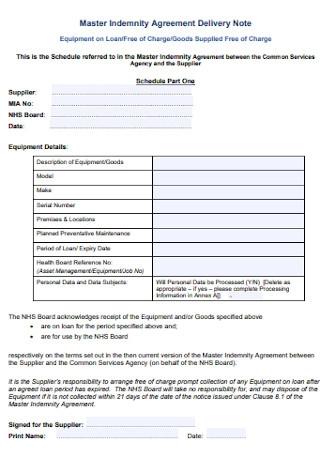 Indemnity Agreement Delivery Note
