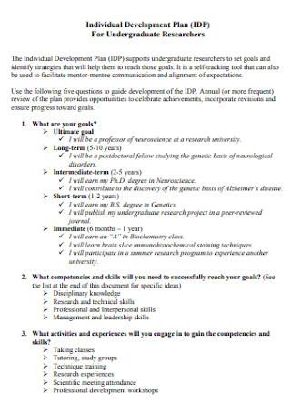 Individual Development Plan For Undergraduate Researchers